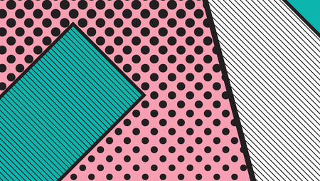 broadsheet: black and white pop art geometric pattern juxtaposed with bright bold blocks of squiggles. Material design background. Futuristic, prospectus, poster, magazine, broadsheet, leaflet, book, billboard