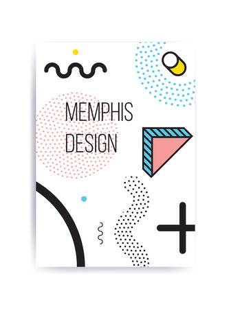 Colorful trend Neo Memphis geometric pattern juxtaposed with bright bold blocks of color zig zags, squiggles, erratic images. Design background elements composition. Magazine, leaflet, billboard