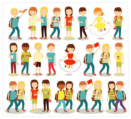 liking: Vector illustration set of children students pupils doing different fun activities liking painting studying sports