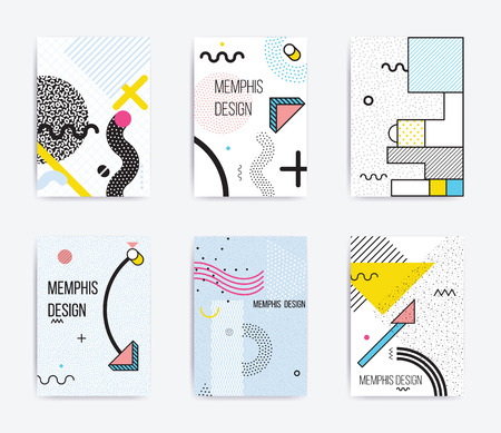 squiggles: Colorful trend Neo Memphis geometric poster set juxtaposed with bright bold blocks of color zig zags, squiggles, erratic images. Design background elements composition. Magazine, leaflet, billboard Illustration