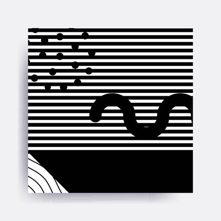 squiggles: black and white Neo Memphis geometric pattern juxtaposed with bold blocks of zig zags, squiggles, erratic images. Design background elements composition. Magazine, leaflet, billboard Illustration