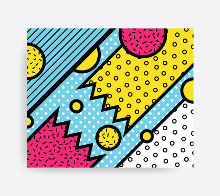 broadsheet: Colorful Pop art geometric pattern with bright bold blocks squiggles. Colorful Material Design Background in Pink Yellow Blue Black and White. Prospectus, poster, magazine, broadsheet, leaflet, book