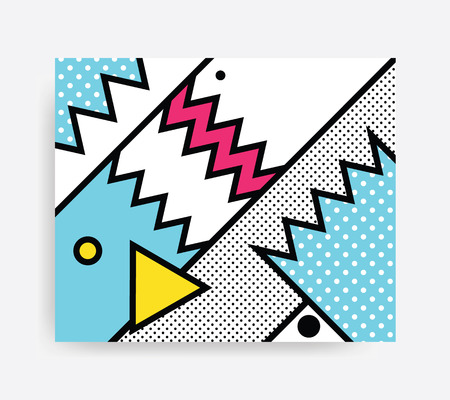 Colorful Pop art geometric pattern with bright bold blocks squiggles. Colorful Material Design Background in Pink Yellow Blue Black and White. Prospectus, poster, magazine, broadsheet, leaflet, book
