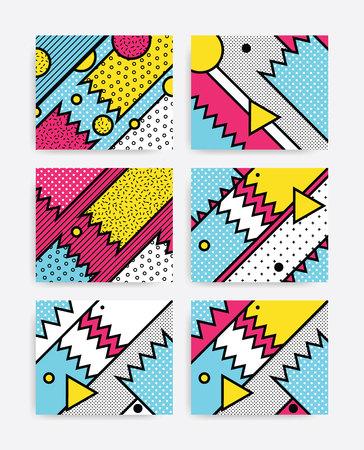 Colorido patrón geométrico del arte pop conjunto con bloques intrépidos brillantes. Diseño de materiales de colores de fondo en amarillo azul rosado Blanco y Negro. Folleto, cartel, revista, periódico de gran formato, folleto, libro Foto de archivo - 67643597