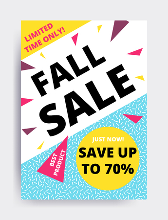 Flat design eye catching sale website banner template. Bright colorful vector illustrations for social media, posters, email, print, mobile phoned designs, ads, promotional material. Yellow Pink Blue Illustration