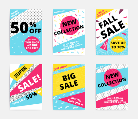 Flat design sale set website banner template. Bright colorful vector illustrations for social media, posters, email, print, ads designs, promotional material. Yellow Pink Blue black and white