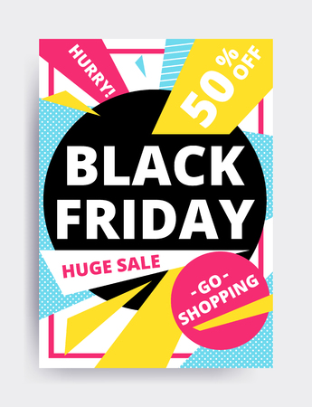 Flat design Black Friday sale website banner template set. Bright colorful vector for social media, posters, email, print, ads, promotional material. Yellow Pink Blue black and white