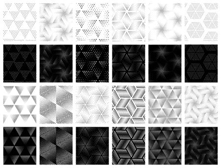 pointillism: Monochrome universal geometric vector seamless patterns set in elegant pointillism style. Repeating abstract circles gradation in black and white. Modern halftone circle design, pointillism