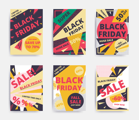 Bright design Black Friday sale website banner template set. Bright colorful for social media, posters, email, print, ads, promotional material. Yellow Pink Blue black and white 일러스트