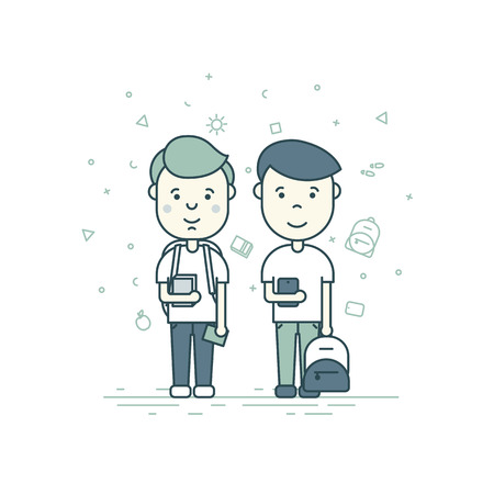pupils: Colorful illustration in trendy flat linear style. Cute pupils students with backpack phone smile
