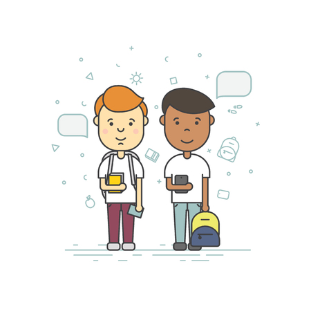 schoolkids: Colorful illustration in trendy flat linear style. Cute pupils students with backpack phone speech bubble smile