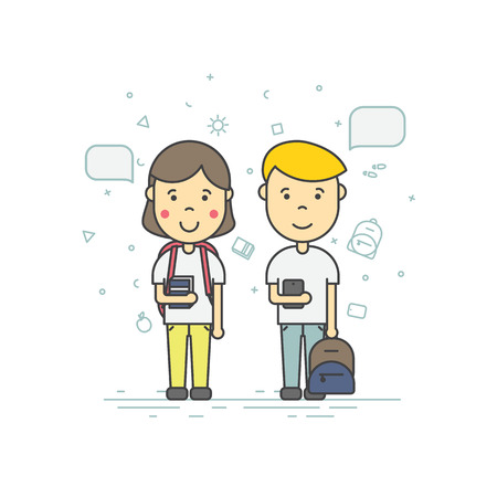 pupils: Colorful illustration in trendy flat linear style. Cute pupils students with backpack phone speech bubble smile