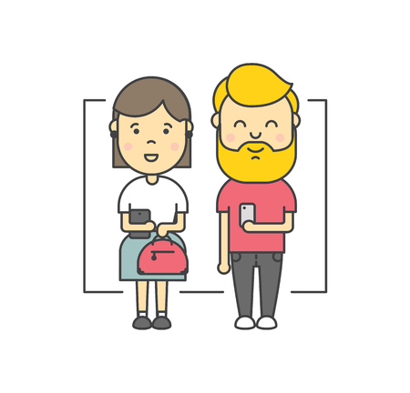 i pad: Cute cartoon illustration of young people couple