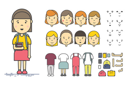 Girl character creation set. Colorful linear vector icon with different types of faces, emotions, clothes, arms, object. Female person