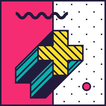 Neo Memphis Stilindeki Şenlikli Arka Plan Basit Düzenlenebilir Koyu Cisimle Parlak Smyk Renkli Renkli Dekoratif Duvar Kağıdı Stok Fotoğraf - 71027081
