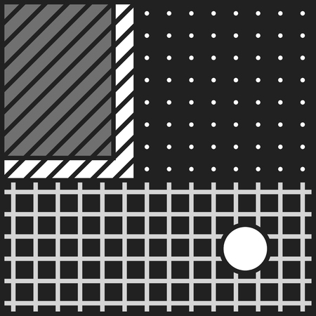 digital print: Festive Background in Neo Memphis Style Monochrome Decorative Wallpaper with Simple Editable Bold Block black and white Color positive digital print