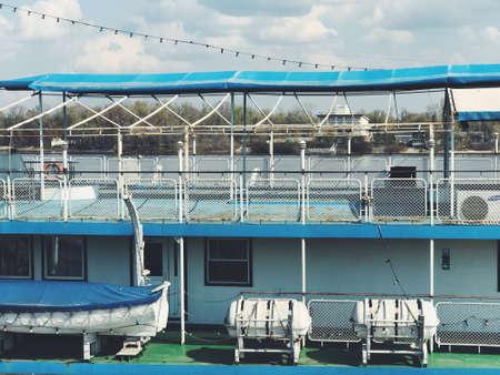 Part of cruise ship. Luxury life background backdrop