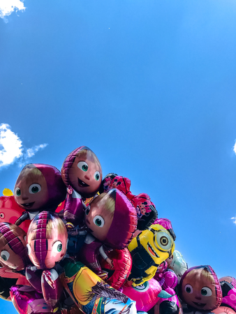 Krakow, Poland - July 29, 2017 : Balloons, popular cartoons close-up in the center of town Cracow Editorial