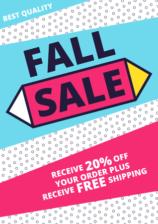 marketing online: Flat design sale website banner template. Bright colorful vector illustrations for social media, posters, email, print, ads designs, promotional material. Yellow Pink Blue black and white