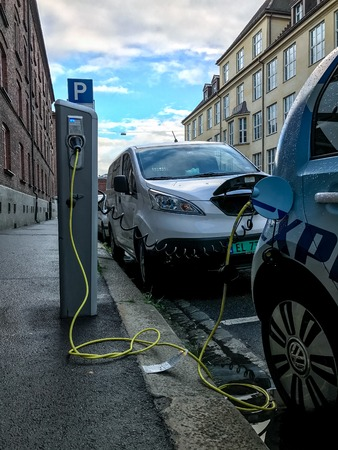 Electric car charging station in Oslo