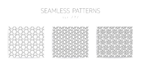 grid pattern: Vector seamless geometric patterns collection with editable stro Illustration