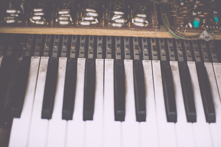 audio mixer: Old retro unnecessary faulty musical synthesizer Stock Photo