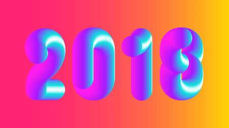 Vector colorful 2018 illustration, Merry Christmas and Happy New Year. Pink Blue