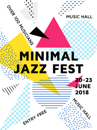 Minimal jazz fest poster with geometric shapes and patterns