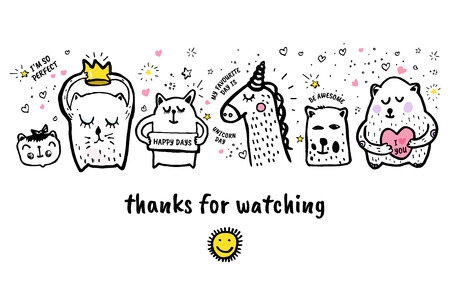 Vector illustration. Thanks for watching banner with animals doodle. Illustration
