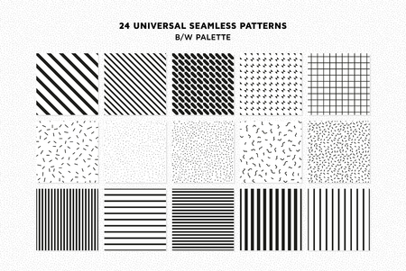 Universal vector seamless patterns set of simple elements 일러스트
