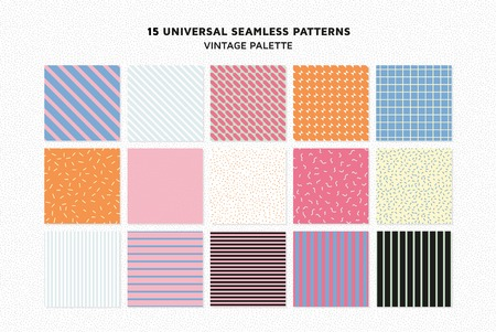 Universal vector seamless patterns set of simple elements Vettoriali