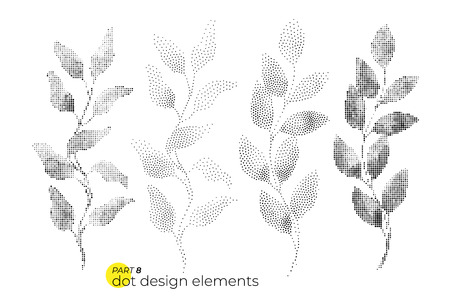 Universal trend dotty leaves set. Dotted bright bold elements co Illustration