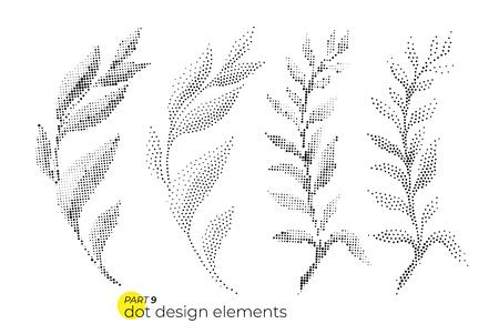 Set di foglie dotty di tendenza universale. Elementi audaci luminosi punteggiati co Archivio Fotografico - 97310698