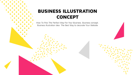 Vector concept with universal abstract shapes, text. Business illustration concept  イラスト・ベクター素材