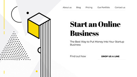 Black, yellow and white vector illustration of a website template