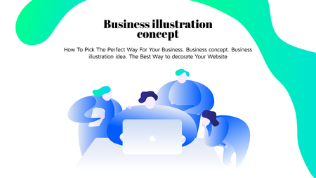 A Vector business illustration. Young people work together Freelan