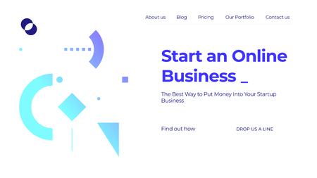 Blue and white vector illustration of a website template