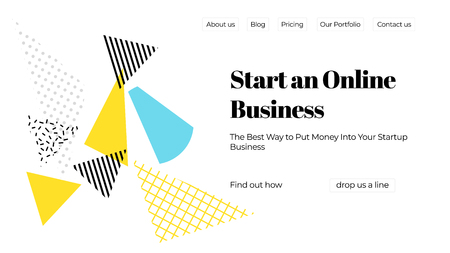 Blue, yellow, black and white vector illustration of a business website template