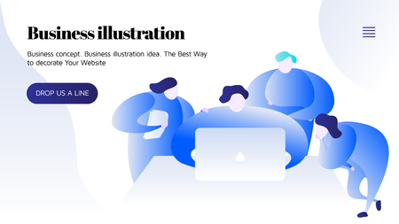 Blue and white vector illustration of people working together