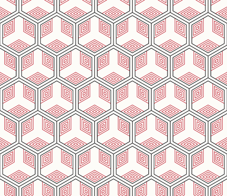 Vector seamless geometric pattern, On red illustration.