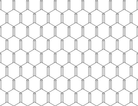 Vector seamless geometric pattern. Vertical with spaces connecting in pentagon manner