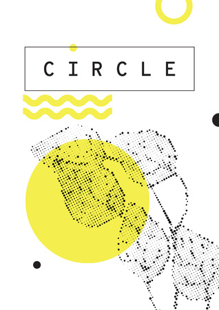 Leaves and yellow circle design illustration