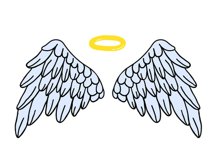 Hand-drawn youth Vector wings. Children magic angelic colorful wing patch. Perfectly suitable for Laptop Sticker Clothes