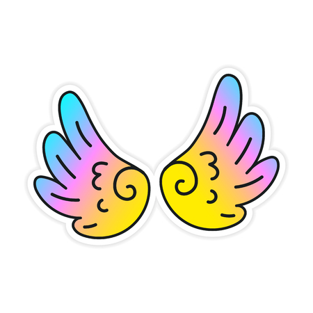 Hand-drawn youth Vector wings. Children magic angelic colorful wing Fairy fantastic patch with shadow. Perfectly suitable for Laptop Sticker Clothes