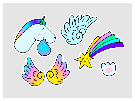 Unicorns Star Wings Paw print. Fantasy Vector Stickers set isolated on gray background. Fun trendy fashion collection for youth Laptop Clothes Textile Fabric Pattern