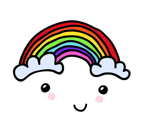 Vector Hand-painted smiling rainbow with clouds. Hand-drawn youth childly doodle patch, comics sticker. Perfectly suitable on a laptop, jeans jacket, other clothes