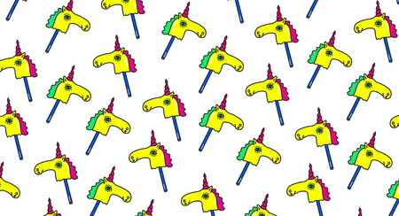 Unicorns Fantasy Vector pattern. Horse on a stick Trendy fashion background in cartoon 80s-90s comic style for youth Clothes Textile Fabric