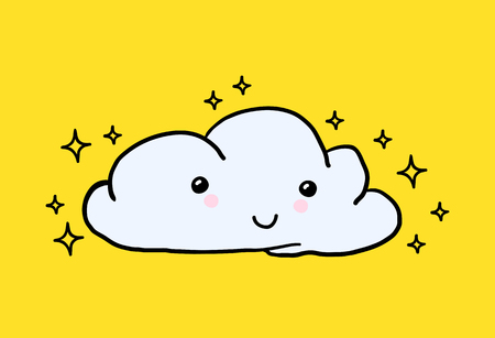 Hand-drawn youth cute Vector Hand-painted smiling cloud, stars. Perfect for baby nursery, children room ideas, childly clothes. Yellow background