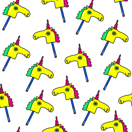 Unicorns Fantasy Vector seamless pattern. Horse on a stick Trendy fashion background in cartoon 80s-90s comic style for youth Clothes Textile Fabric