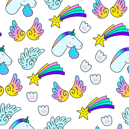 Unicorns Star Wings Paw print. Fantasy Vector seamless pattern. Fun trendy fashion background for youth Laptop Clothes Textile Fabric Pattern 스톡 콘텐츠